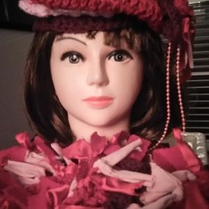 HAT SCARF HAND CROCHETED BURGUNDY PINKS NEW